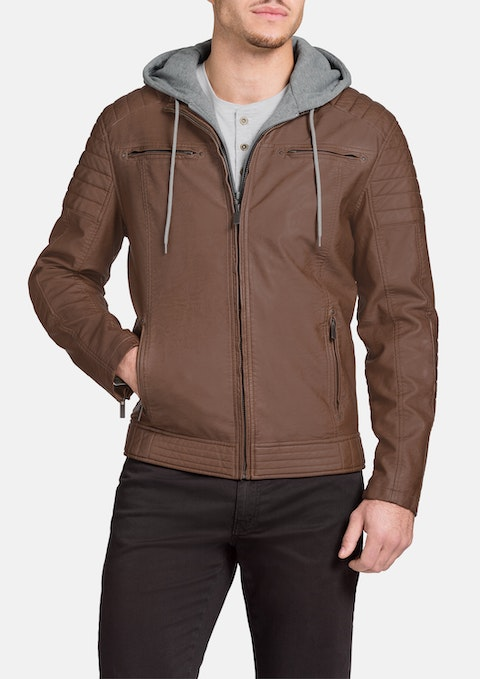 Tan Marlon Hooded Pu Jacket