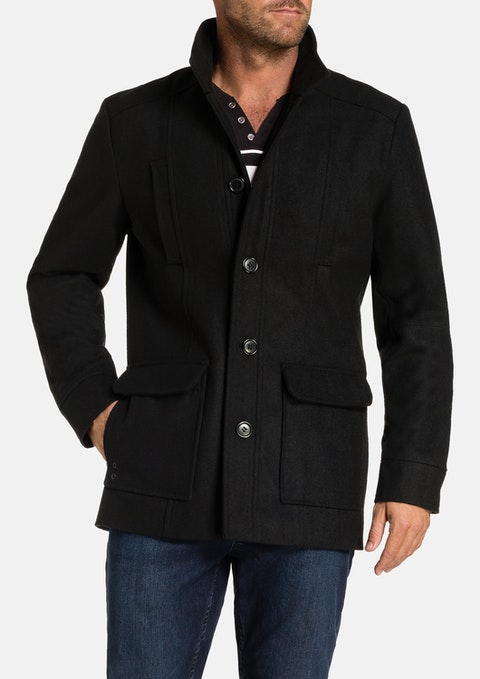 Black Arden Wool Blend Coat