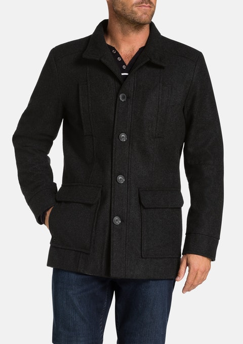 Charcoal Arden Wool Blend Coat