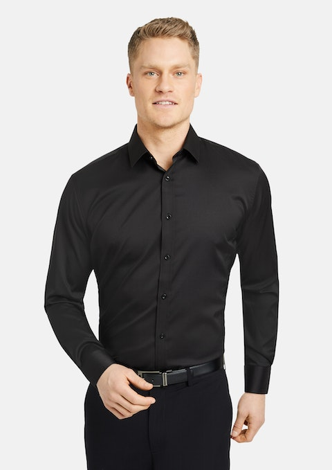 Black Linton Stretch Dress Shirt