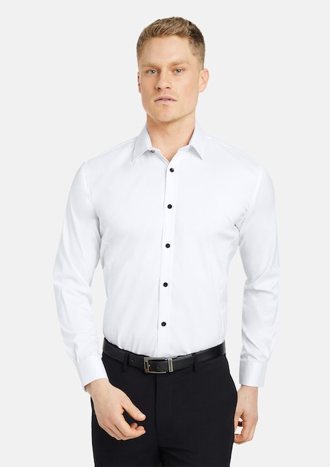 White Linton Stretch Non Iron Shirt