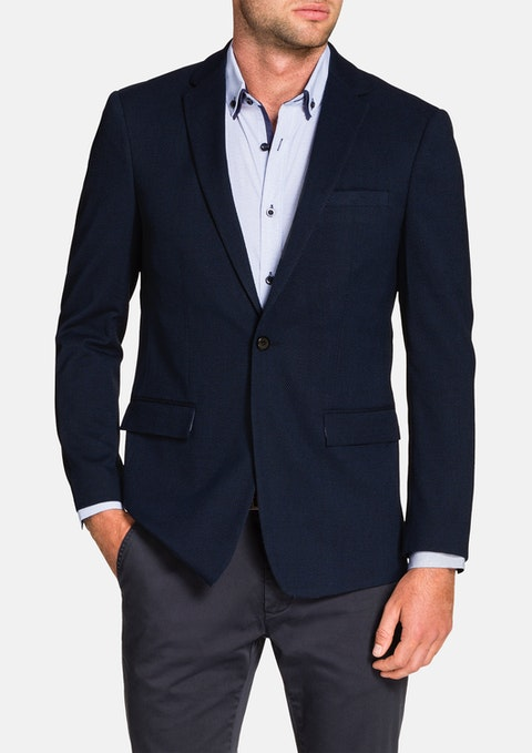 Navy Curtis Textured Jacket