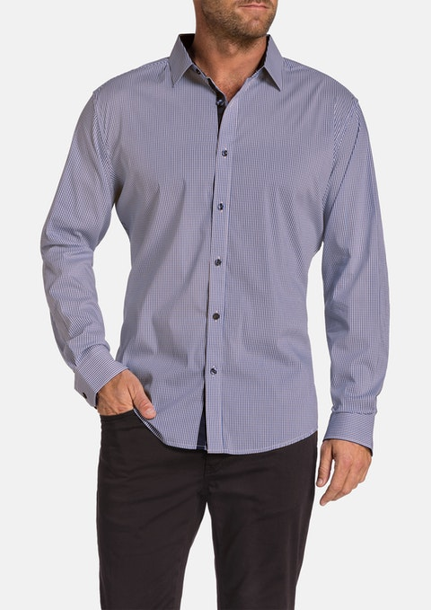 Cognac Wilson Check Stretch Shirt