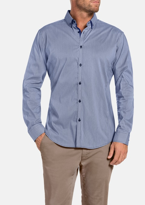 Navy Northcliff Check Stretch Shirt