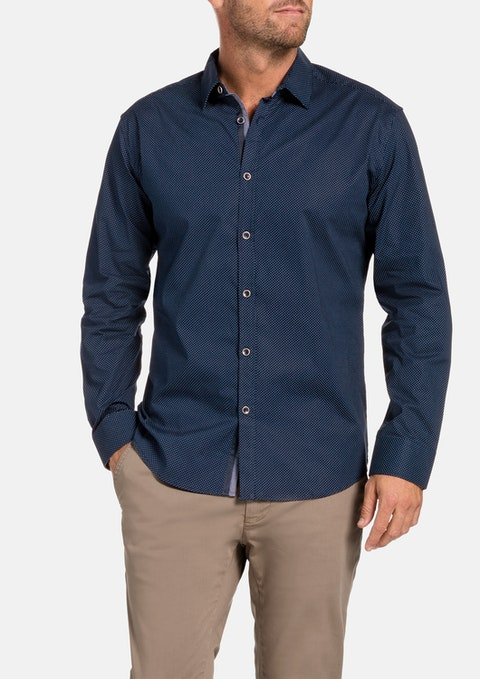Navy Kenmore Stretch Print Shirt