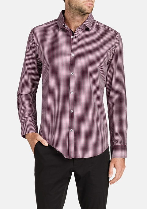 Burgundy Baker Stretch Check Shirt