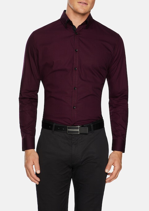 Burgundy Kennedy Print Shirt