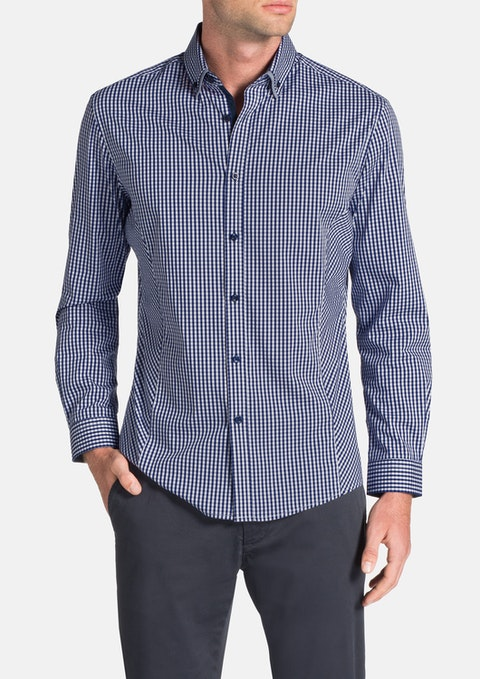 Navy Jetson Slim Check Shirt
