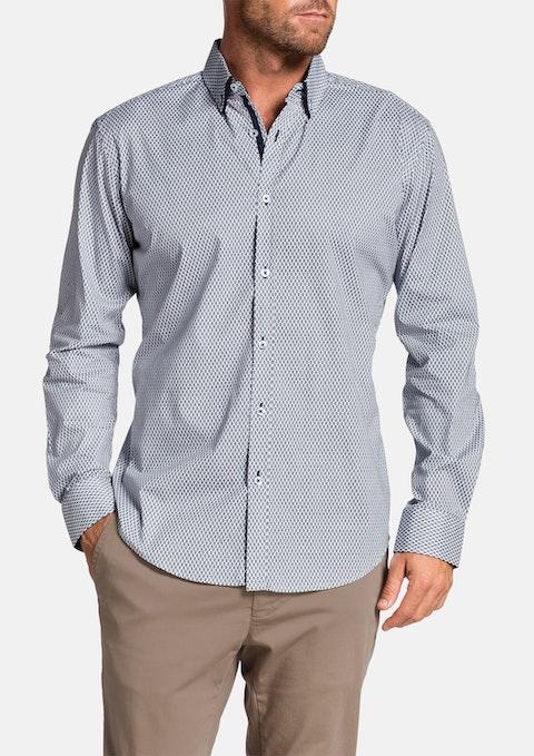 Navy Barrington Slim Print Shirt
