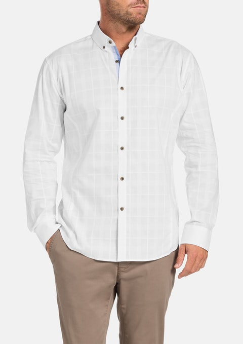 White Tristan Check Shirt
