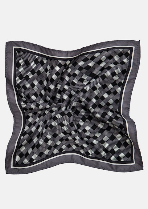 Charcoal Check Pocket Square