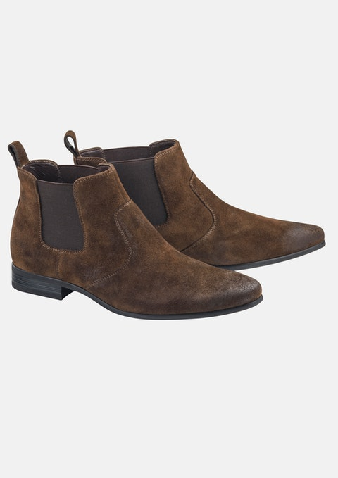 Chocolate Archie Suede Gusset Boot