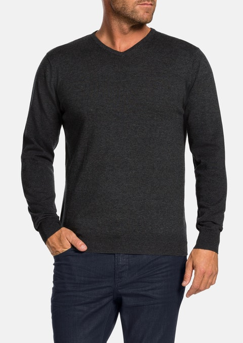 Charcoal Reese V-neck Knit
