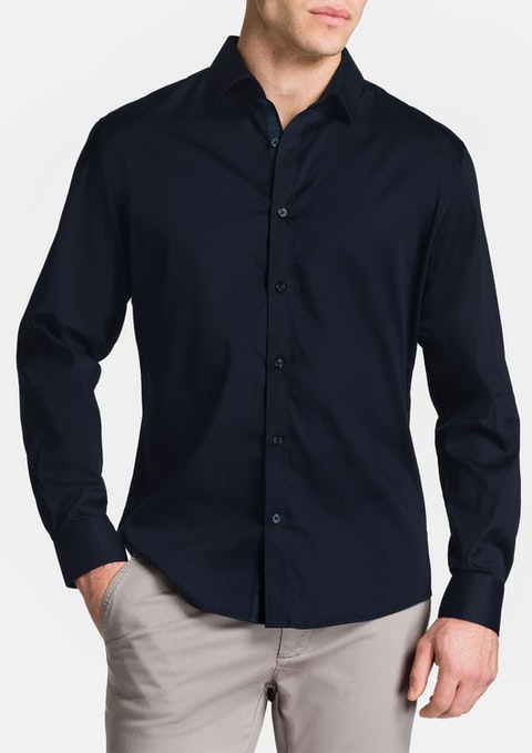Navy Bahamas Slim Stretch Shirt