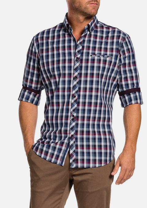 Navy Haldon Check Shirt