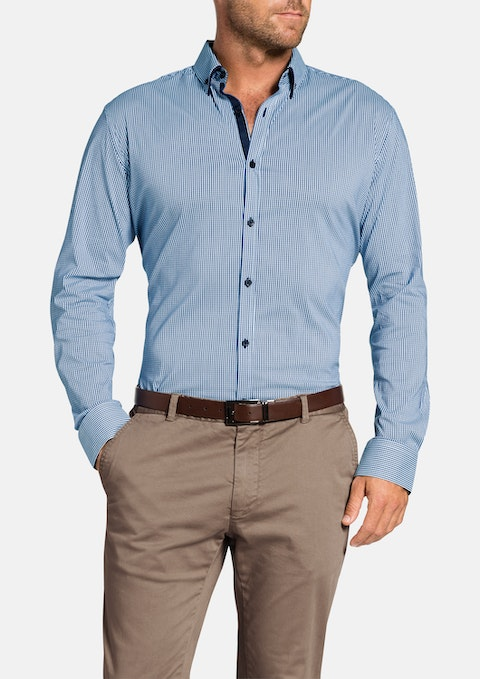 Blue Manxman Stretch Check Shirt