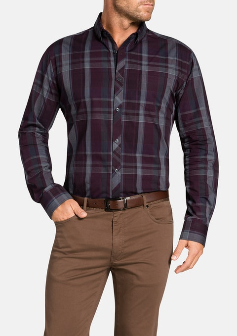 Burgundy Correspondent Check Shirt