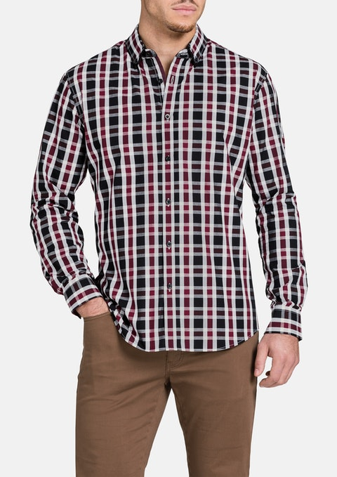 Burgundy Suspicion Check Shirt