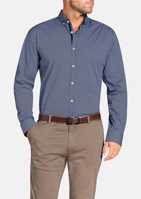 Navy Saboteur Slim Print Shirt