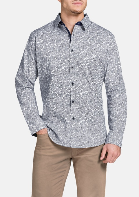 Navy Paradine Paisley Print Shirt