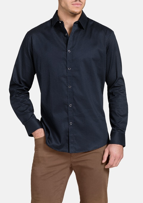 Navy Elstree Slim Print Shirt
