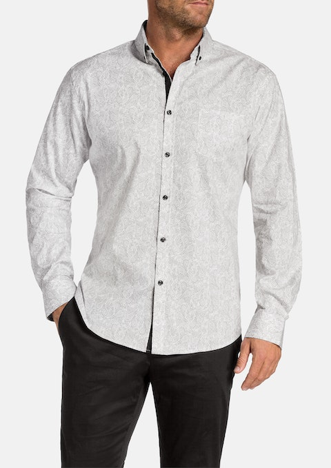 Grey Billy Slim Paisley Print Shirt