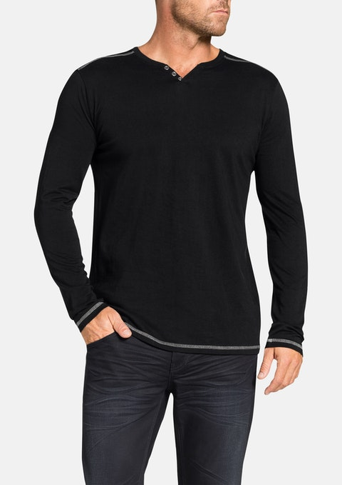 Black Graceland Henley Long Tee