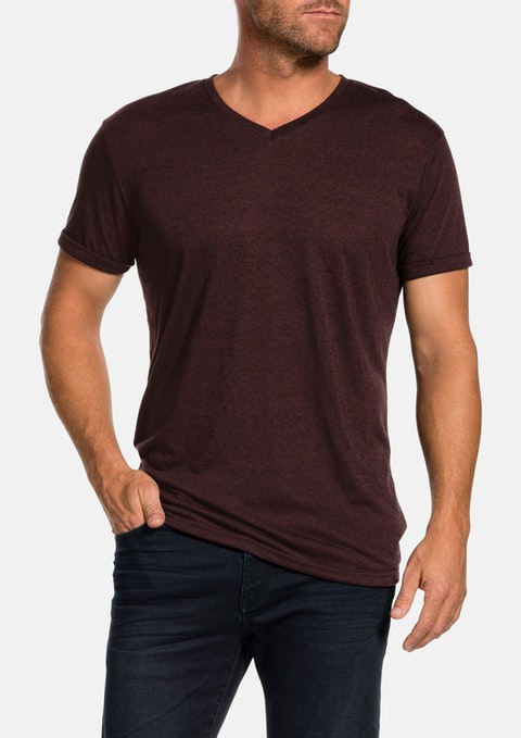 Burgundy V Neck Slub Tee