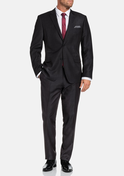 Charcoal Cutter Textured 2 Button Suit