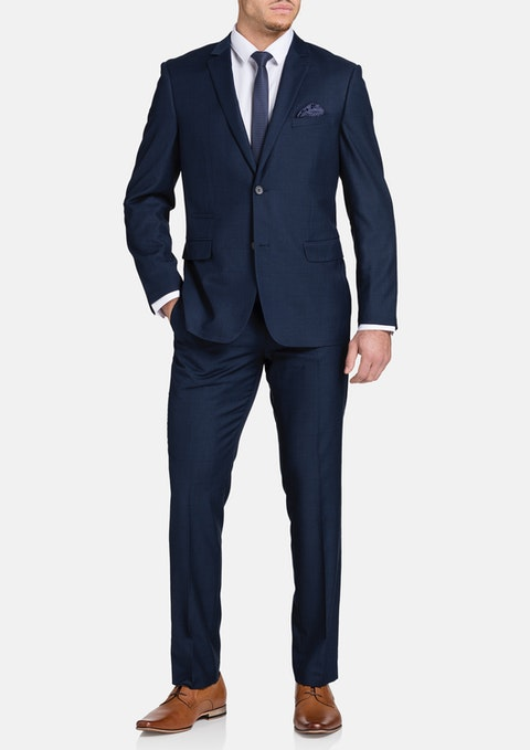 Navy Tanner 2 Button Check Suit