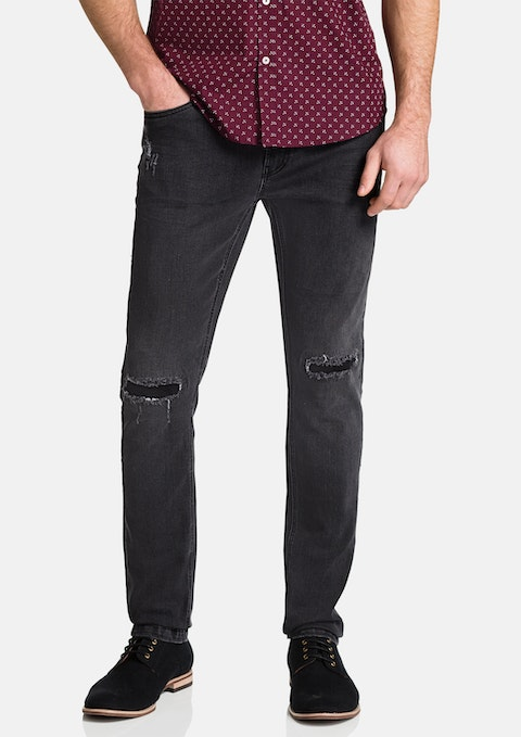 Charcoal Rip Tapered Jean