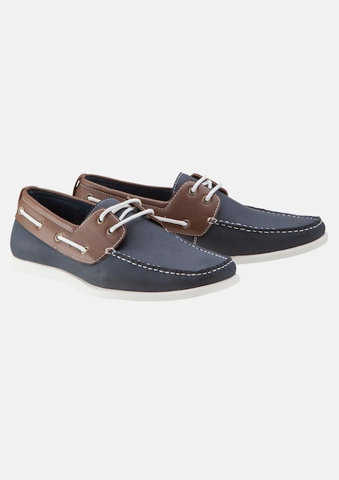 Navy 2-tone Boat Shoe