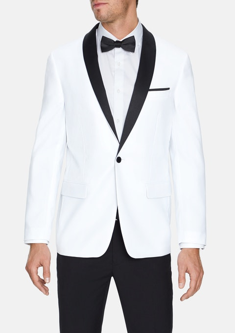 White Hector Shawl Collar Jacket