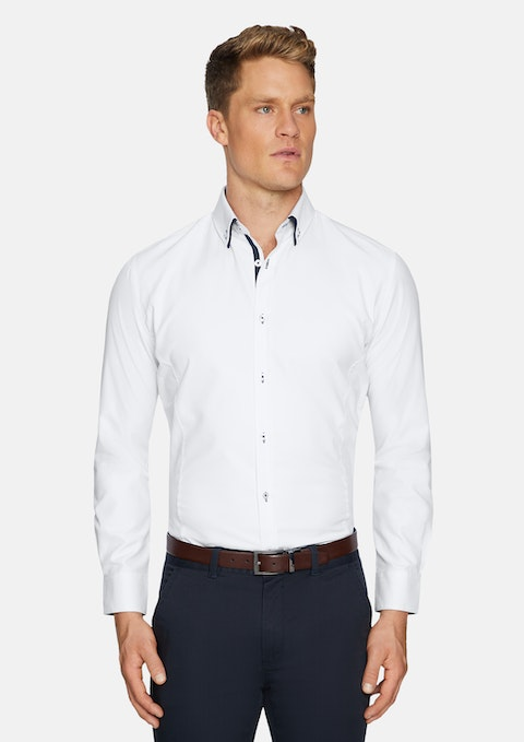 White Primo Slim Textured Shirt