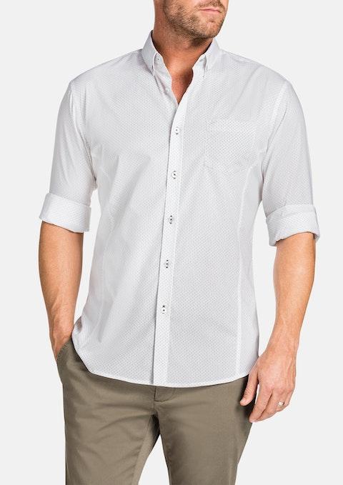 White Matt Slim Print Shirt