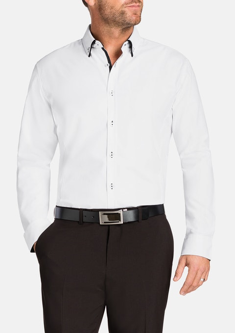 White Payne Slim Jacquard Shirt