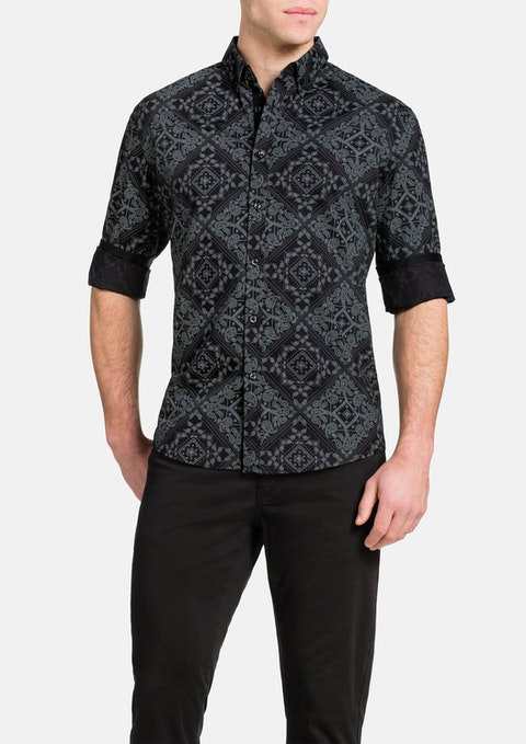 Black Bandana Slim Print Shirt