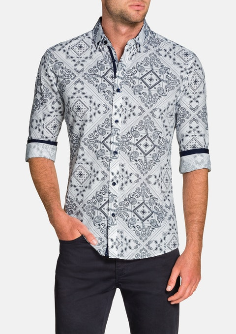White Bandana Slim Print Shirt