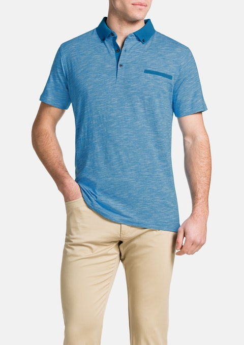 Aqua Slub Stripe Polo