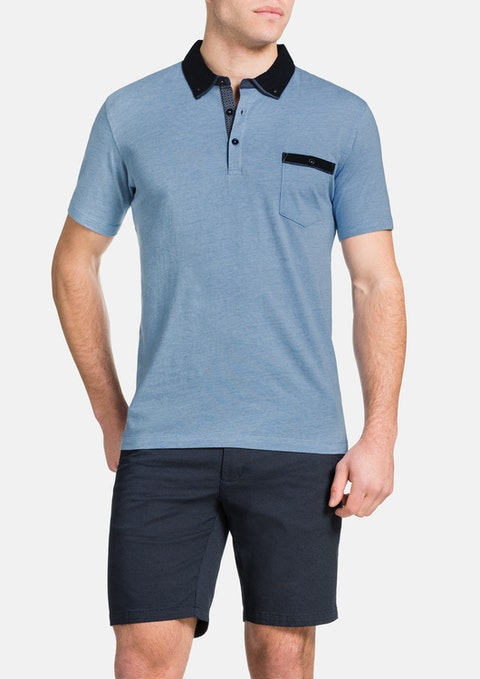 Sky Contrast Collar Polo