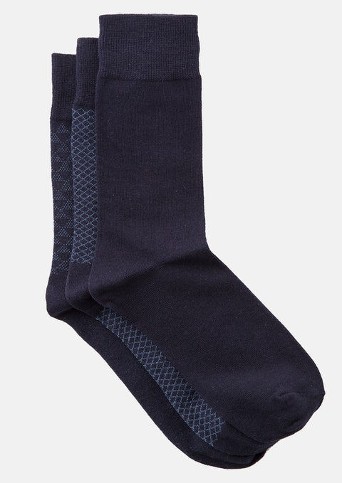 Navy Pattern Sock 3 Pack