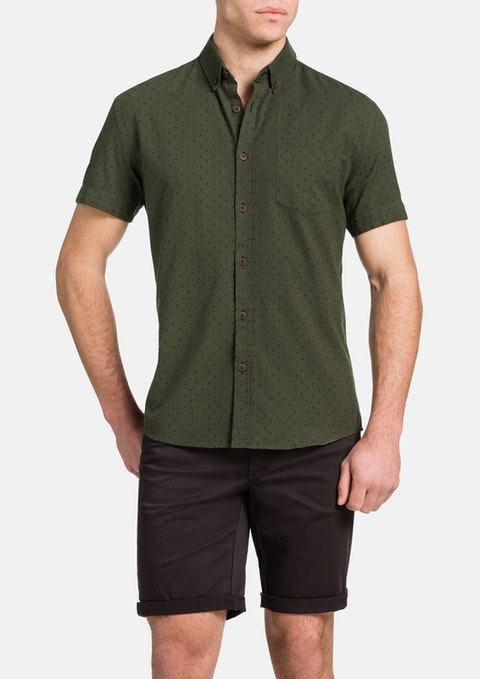 Khaki Oxford Spot Shirt