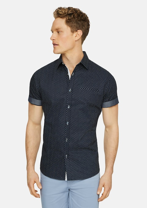 Navy Aries Print Shirt