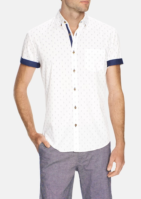 White Anchor Print Shirt