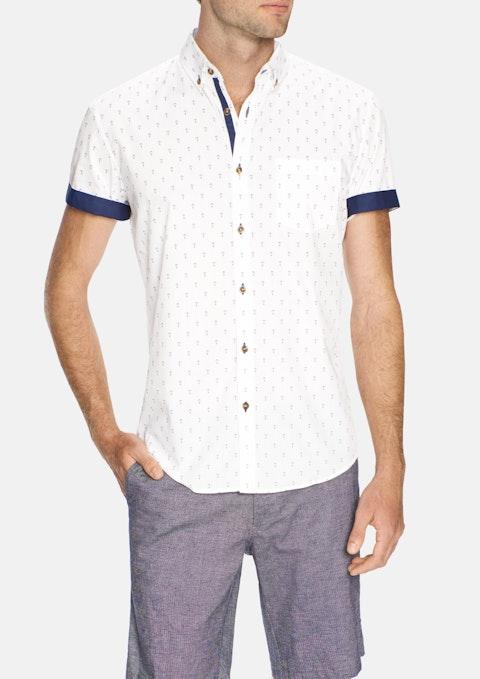 White Anchor Print Shirt