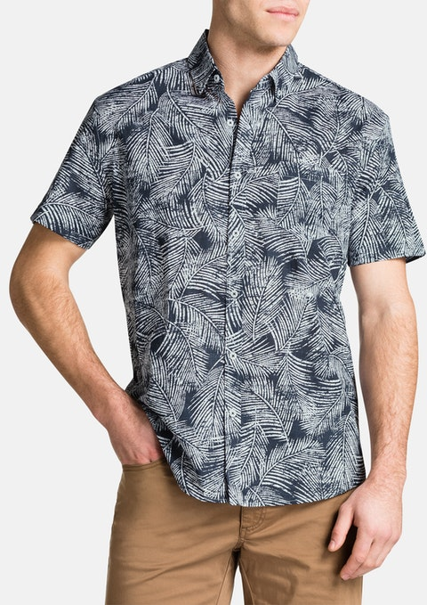 Navy Fern Print Shirt
