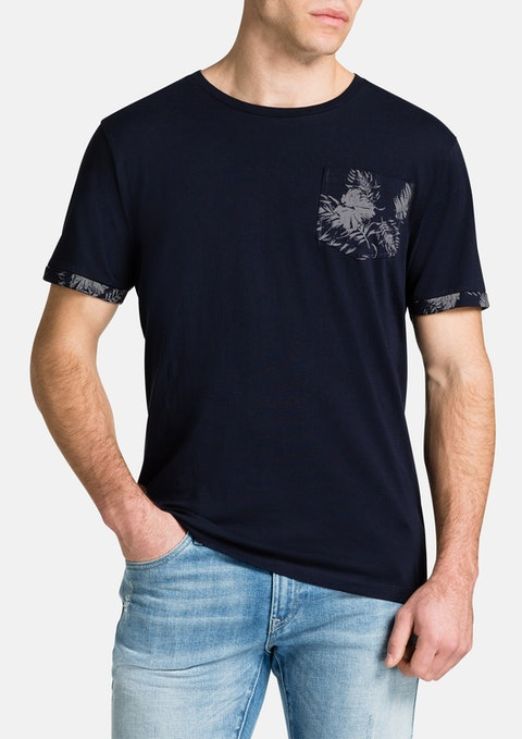 Navy Contrast Pocket Tee