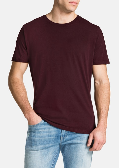 Burgundy Essential Crew Neck Tee