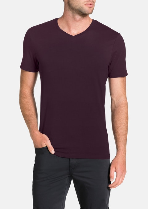 Aubergine Essential V-neck Tee