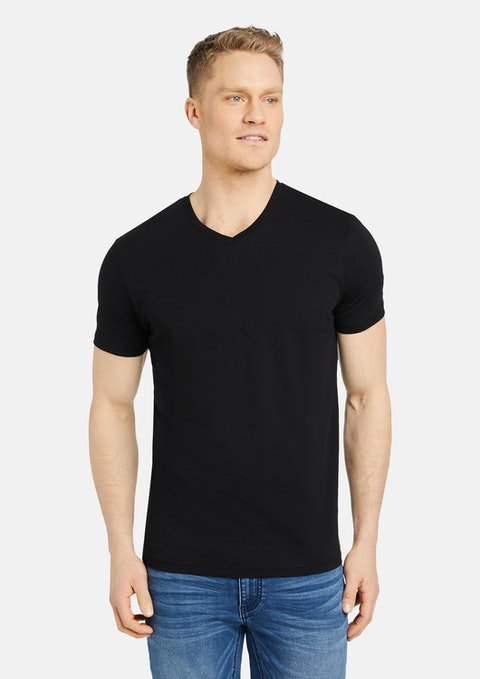 Black Essential V-neck Tee